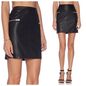 NWT BCBGeneration Black Faux Leather Zipper Skirt